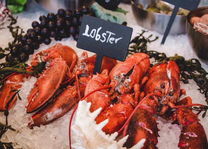 Red spiny lobsters on ice with sign that says Lobster and grapes in background