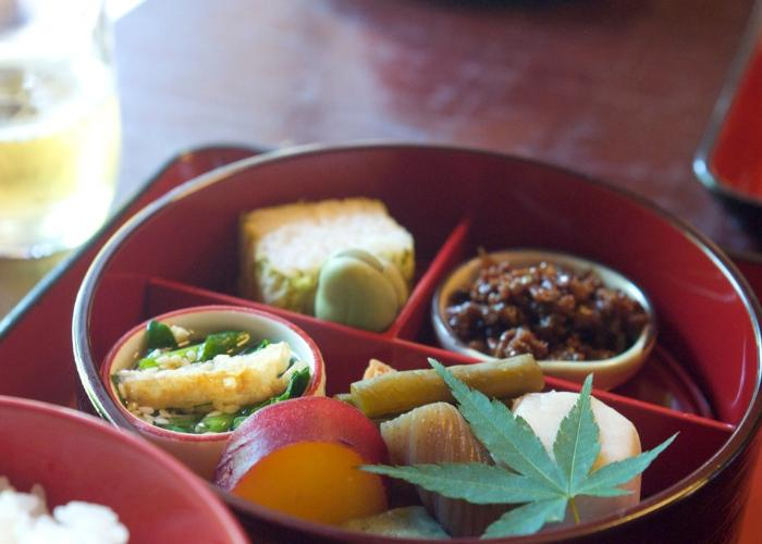 A close up photo of shojin ryori, with several small dishes