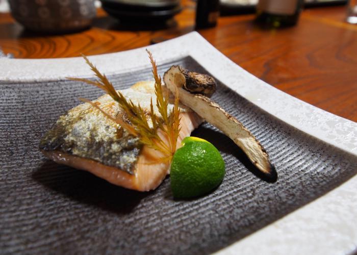A portion of Biwa salmon on a plate