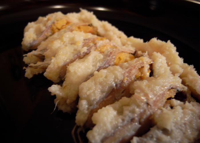 A close up image of sliced funazushi