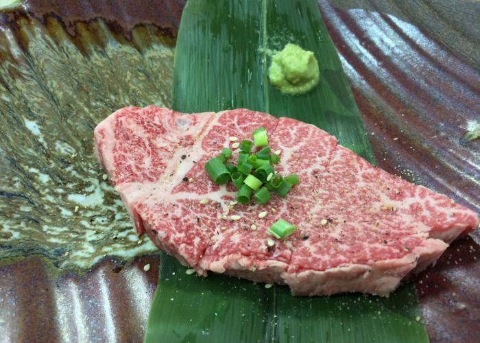 Close up image of a steak of wagyu