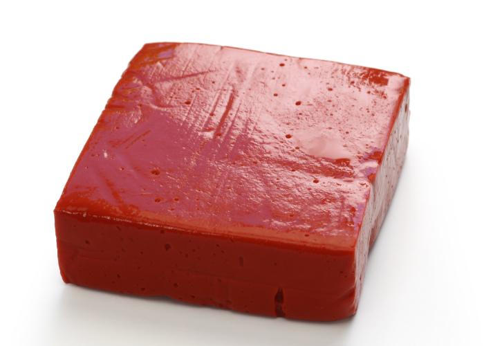 Red block of aka konnyaku from Shiga prefecture, a jelly-like food made from yams