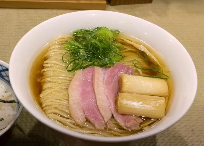 Bowl of Shoyu (soy sauce) ramen from Kamo to Negi with duck chashu slices