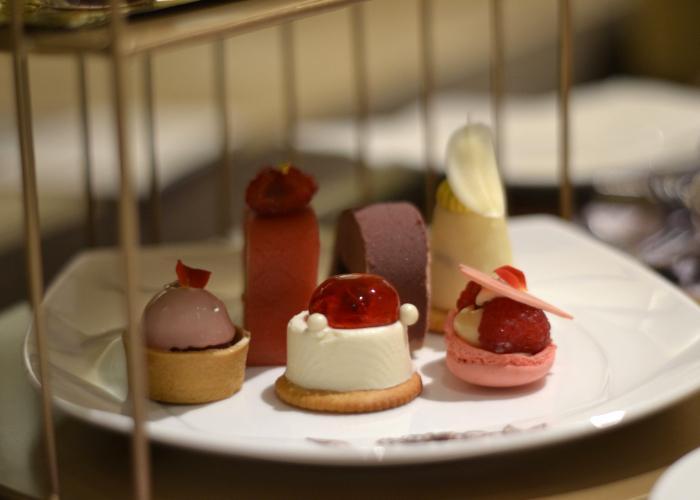 Tokyo Dessert Buffet Spread: Rose Cream Macaron, Strawberry Rare Cheesecake, and Raspberry and Ruby Chocolate Tart