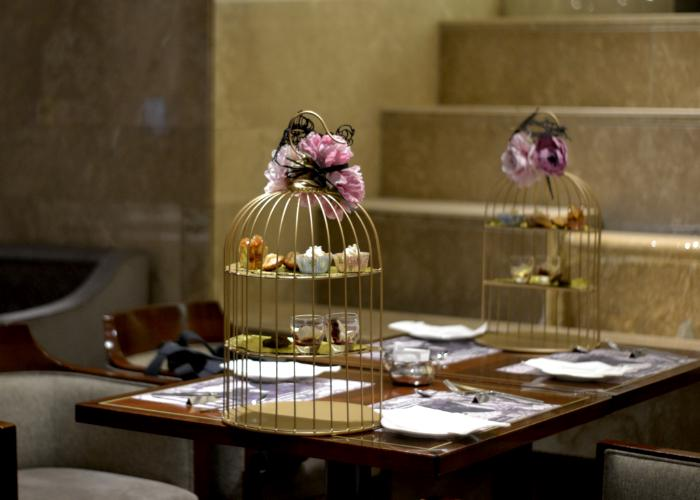 Tiered afternoon tea cake stand at the Hilton Tokyo Marble Lounge