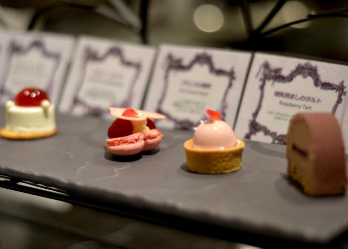Macaron and other small treats laid out at the Hilton Hotel