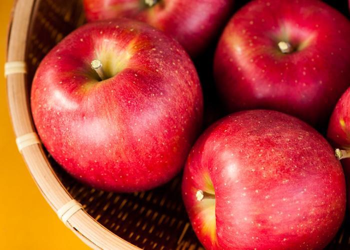 A basket of red Aomori apples