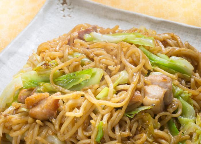 A mix of stir-fried hiruzen yakisoba noodles from Okayama