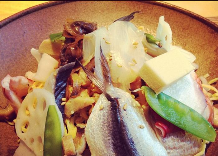 Okayama Barazushi, a plate of mixed sushi rice with various toppings