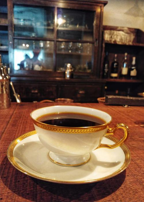 A gold-plated cup of coffee from Kabuki coffee shop in Tokyo,