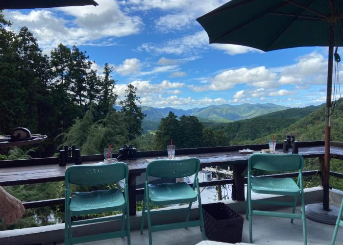Stunning view of mountains from Hontakiyama no Cafe, an Osaka cafe with outdoor seating