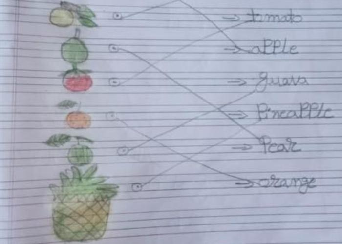 Photo of a school assignment by a child in India