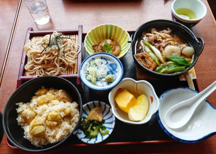 Set meal with rice, stew, soba, pickles, dessert