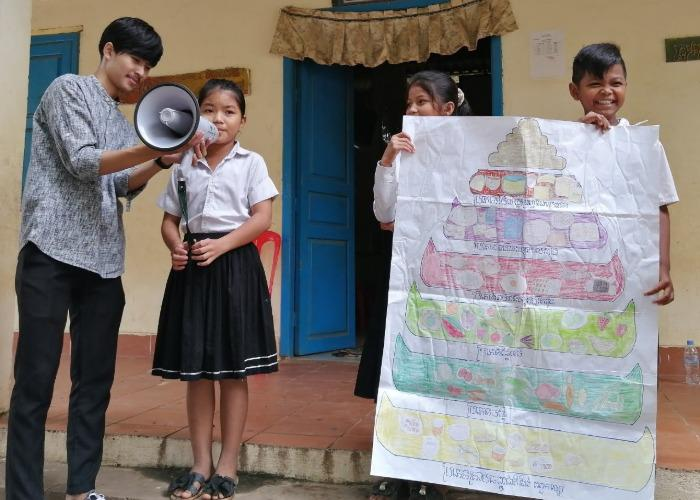 Cambodian students giving a presentation during a nutrition workshop