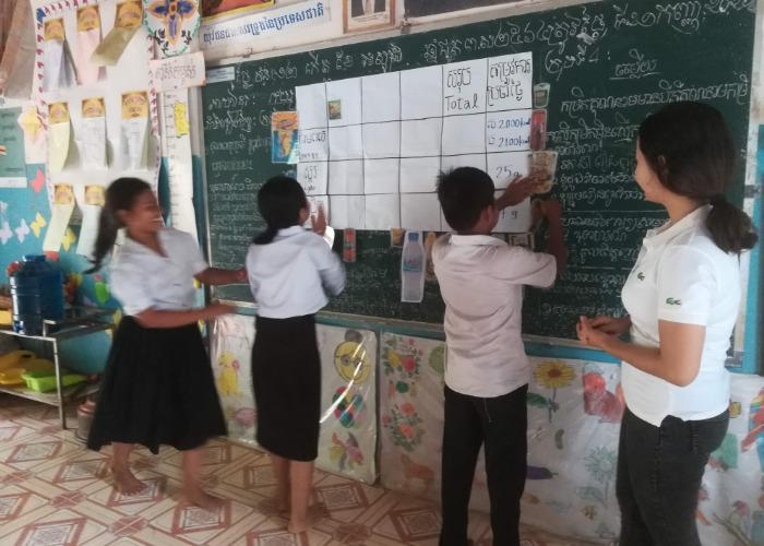 Cambodian students at the front of the classroom during a workshop by NGO Nom Popok