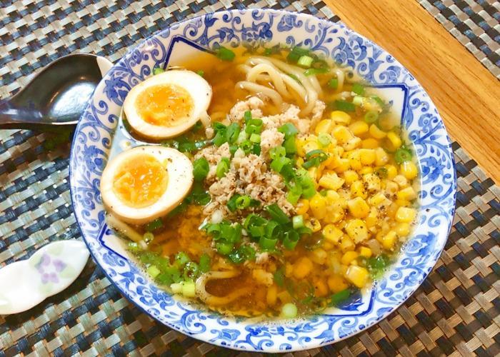 A bowl of ramen with homemade noodles during an online ramen cooking class with Manami sensei