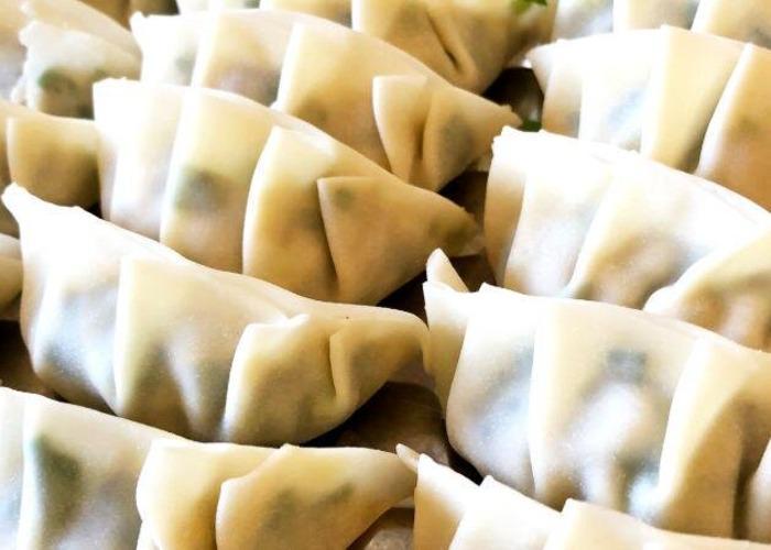 Close-up of gyoza, Japanese potstickers, during an online dumpling making class