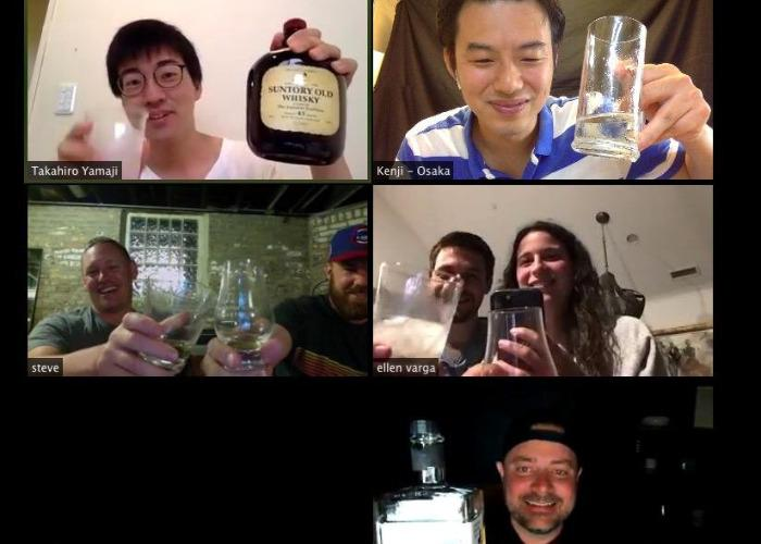 Screenshot of participants during online whisky experience