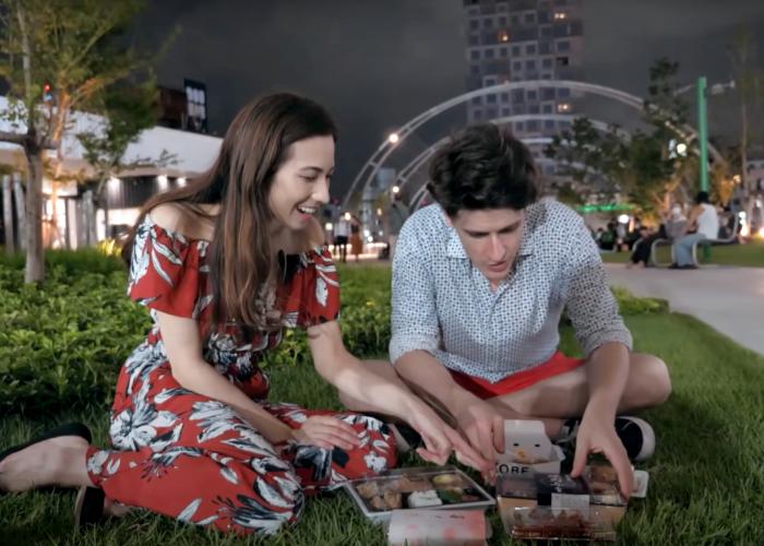 Shizuka Anderson and Kyle Card have a picnic at Miyashita Park, a Tokyo rooftop park