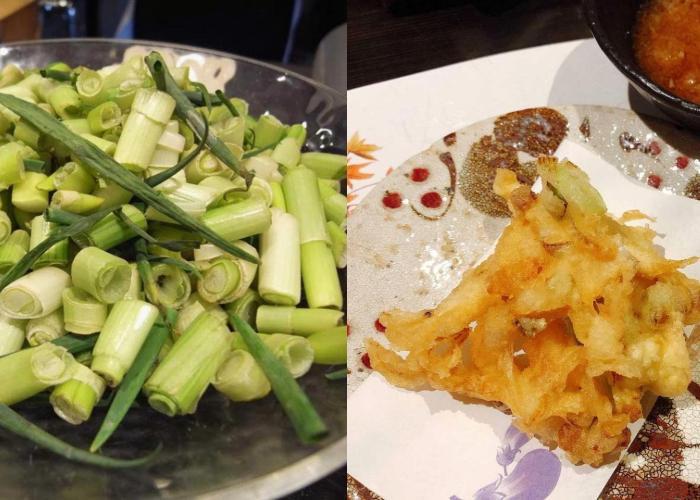 Green onion & shrimp kakiage with grated daikon radish