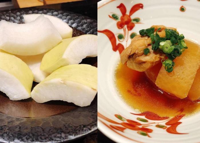 photo of daikon radish scraps next to the boiled nimono dish
