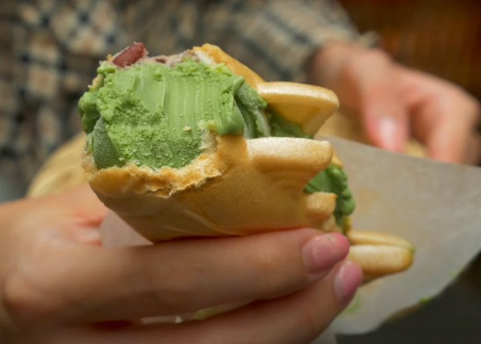Close-up of a matcha ice cream sandwich from Tsukiji Fish Market