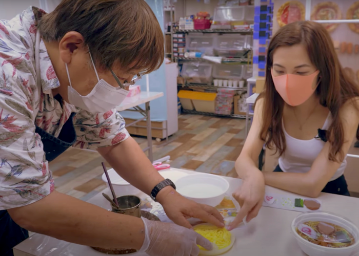 Shizuka and her sensei making a Japanese fake food replica of ramen