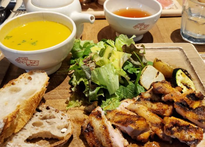 Plate filled with bread, salad, and veg from Le Pain Quotidien