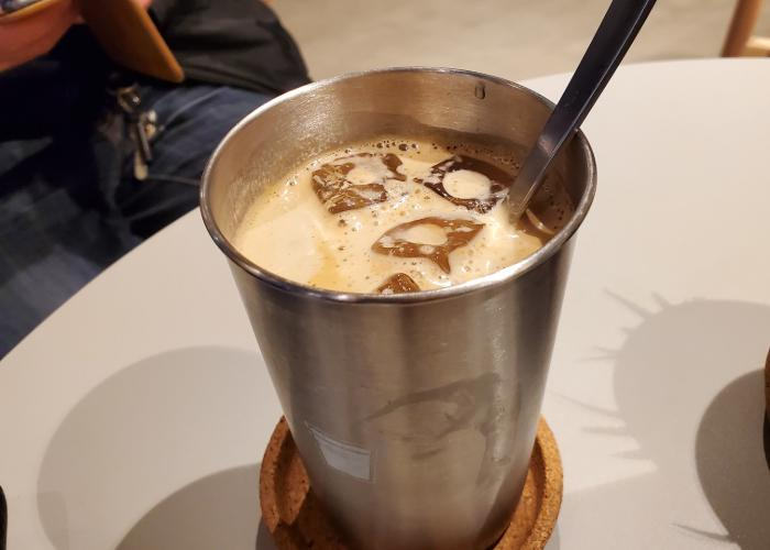 Iced coffee in a stainless steel tumbler from Kopikalyan
