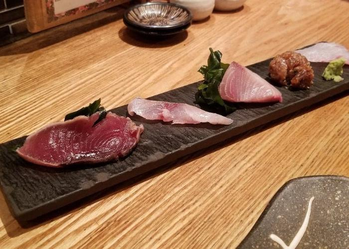 Long rectangular plate of sashimi from Robatasho