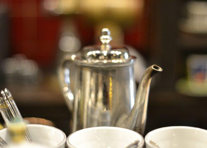 Three cups and a silver kettle from Satei Hato (Chatei Hato) in Shibuya