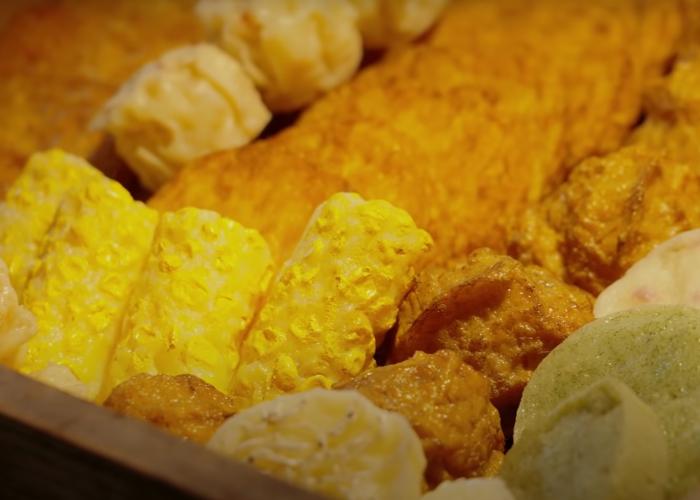 A close up shot of deep-fried fish cakes
