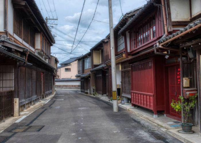 Street in Sancho-machi filled with old Japanese buildings