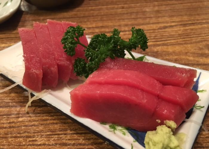 Pacific Bluefin Tuna sashimi on a plate