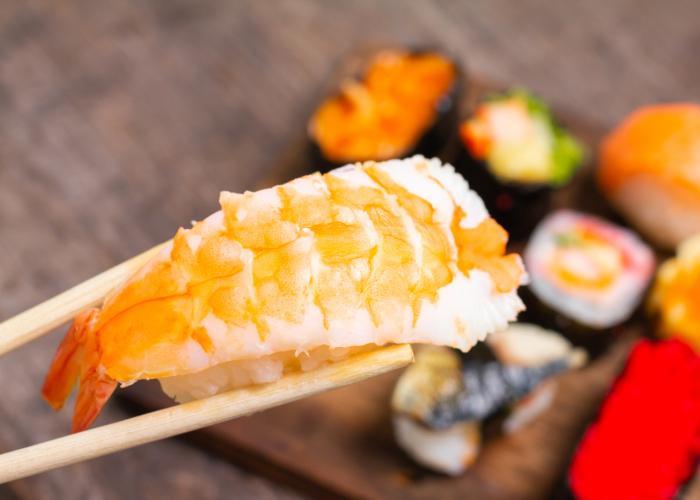 Black tiger prawn nigiri sushi