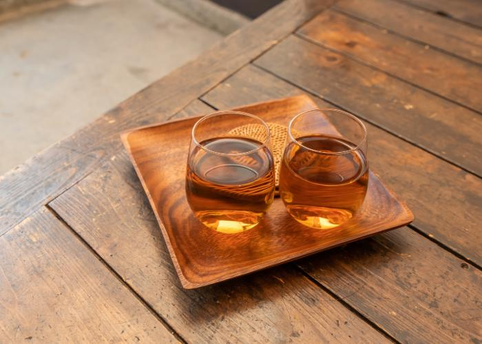 Two glass cups of chilled mugicha tea
