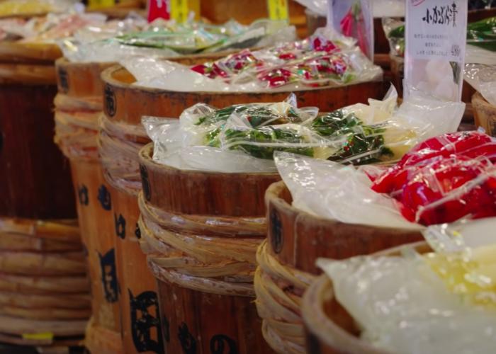 Barrels of pickles at Nishiki Market