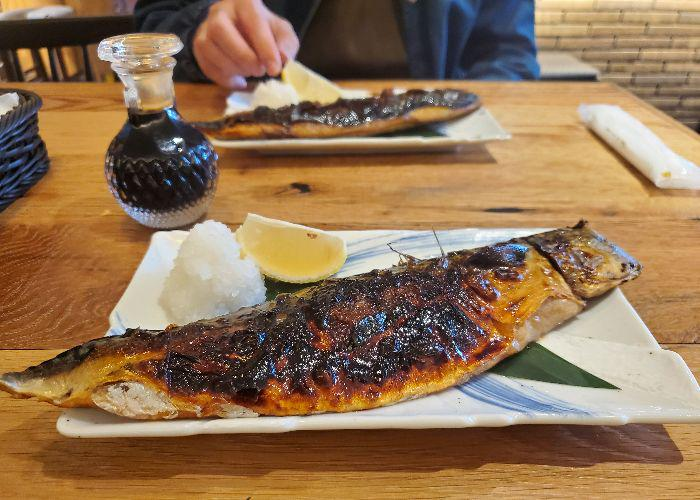 Close-up of grilled mackerel at Shukou Biyori Ateniyoru