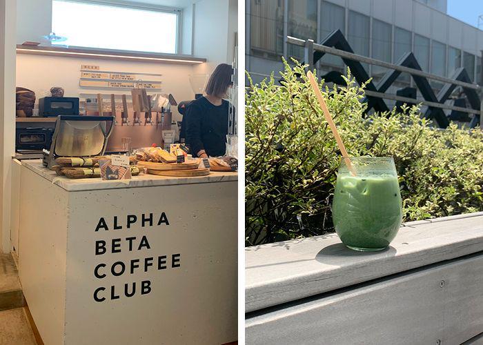 Alpha Beta Coffee Club interior and a matcha drink