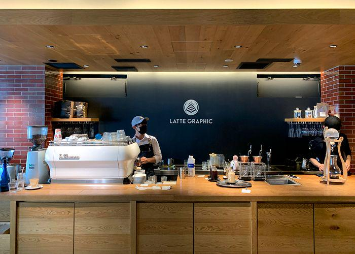 Latte Graphic interior - baristas at work behind the wooden counter