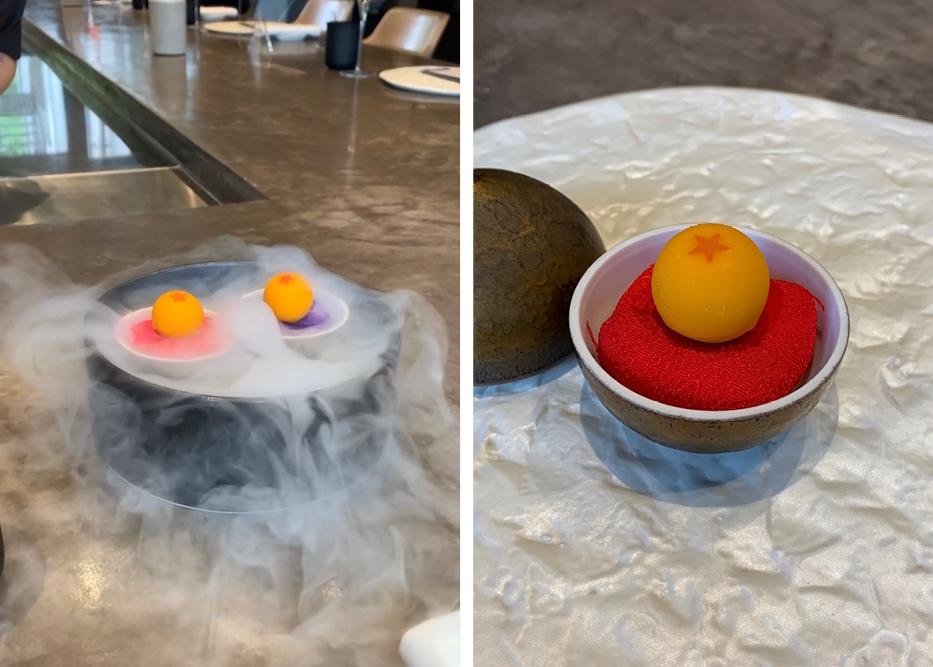 Images of first course, orange lobster ball with dry ice