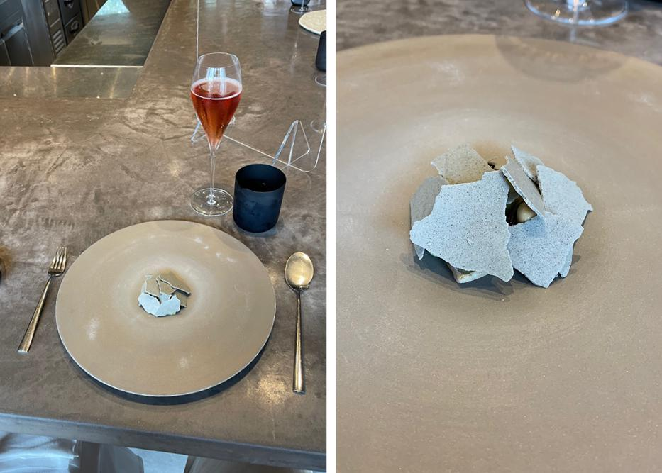 Images of third course, meringue on stone plate