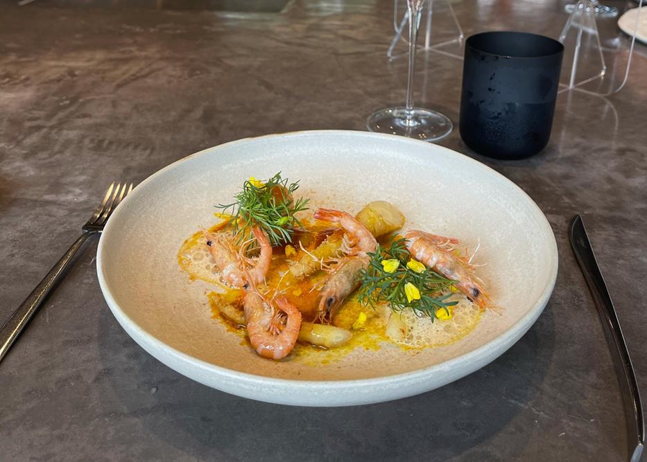 Image of fourth course, carrot and shrimp