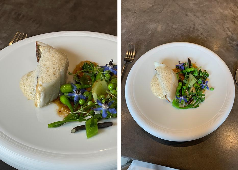 Images of the fifth course, fish dish with spring vegetables