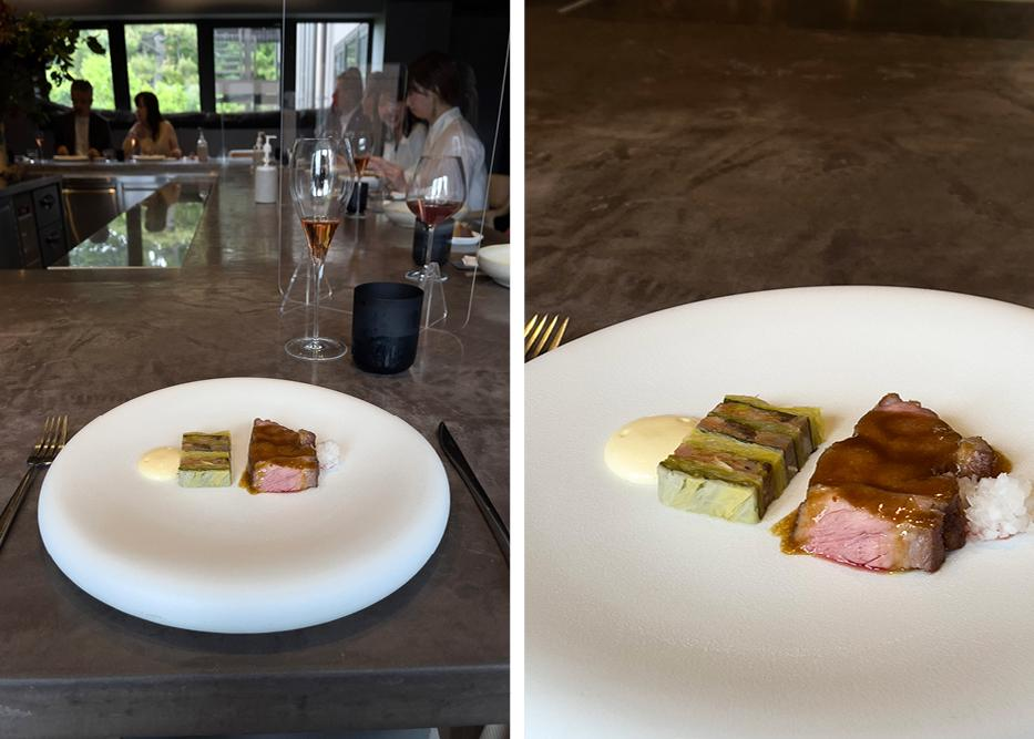 Images of the sixth course, pork and spiced terrine