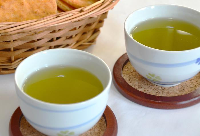 Two cups of Japanese tea from Ise in Mie Prefecture of Japan