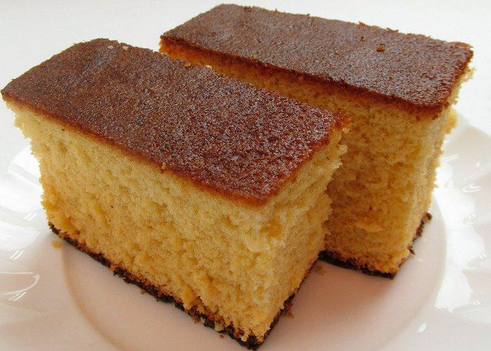 Two slices of Castella Cake from Nagasaki