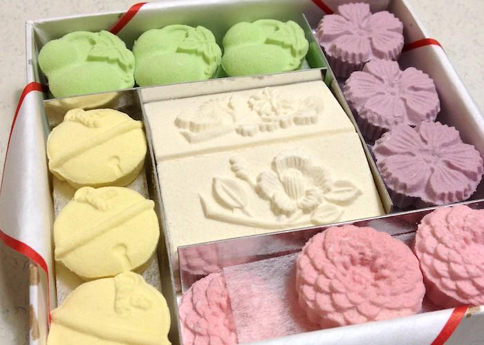 Wasanbon traditional Japanese dry wagashi sweets in a box with different biscuits from Kagawa