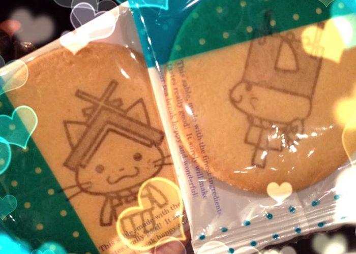 Shimanekko Senbei - crackers printed with Shimane Prefecture's mascot, Shimanekko