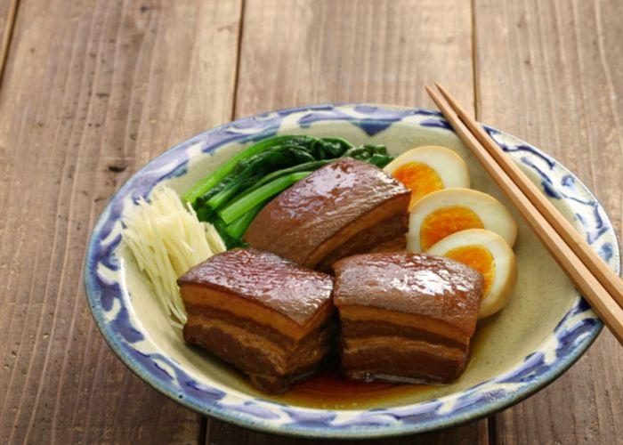 Bowl of Rafute, thick chunks of braised pork, an Okinawan specialty